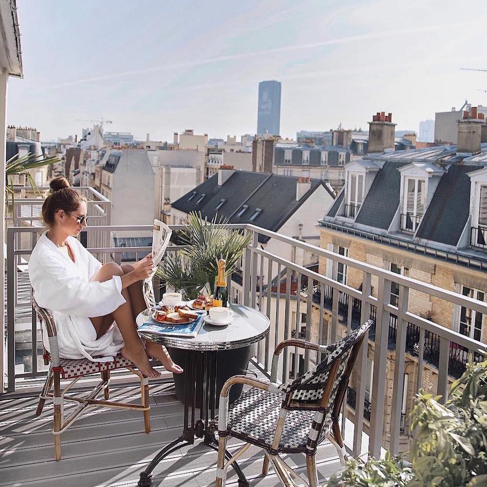 hotel paris 15 eiffel blomet petit déjeuner terrasse vue chambre suite